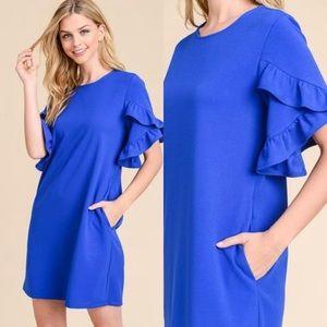 Short sleeve ruffle dress w pockets